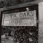 Old Wooden Sign with Pacific Oaks Children's School College Carved on it